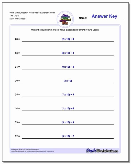 Expanded form Worksheets 5th Grade Printable Standard Expanded and Word form