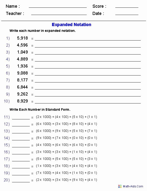 Expanded Notation with Decimals Worksheets Free Expanded Notation Worksheets In 2020