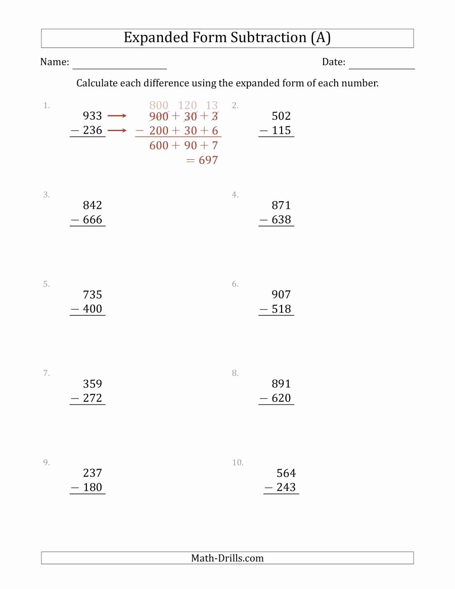 Expanded Notation Worksheets 3rd Grade Ideas 3 Digit Expanded form Subtraction A