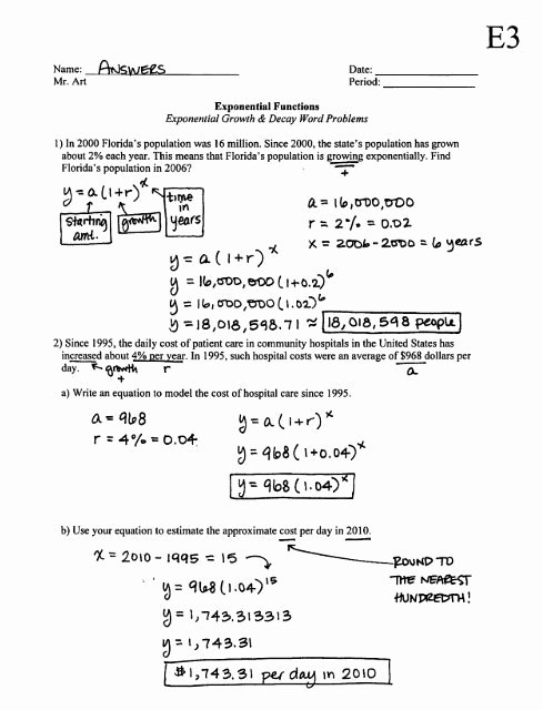 Exponential Function Word Problems Worksheet Ideas Exponential Functions Growth & Decay Worksheet E3