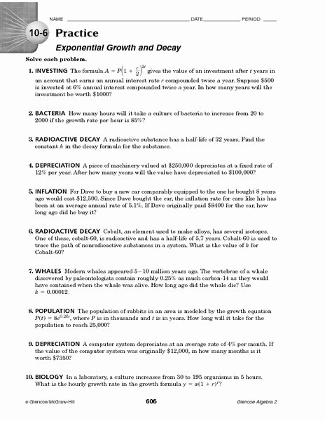 Exponential Function Word Problems Worksheet Printable 10 6 Practice Exponential Growth and Decay Worksheet for