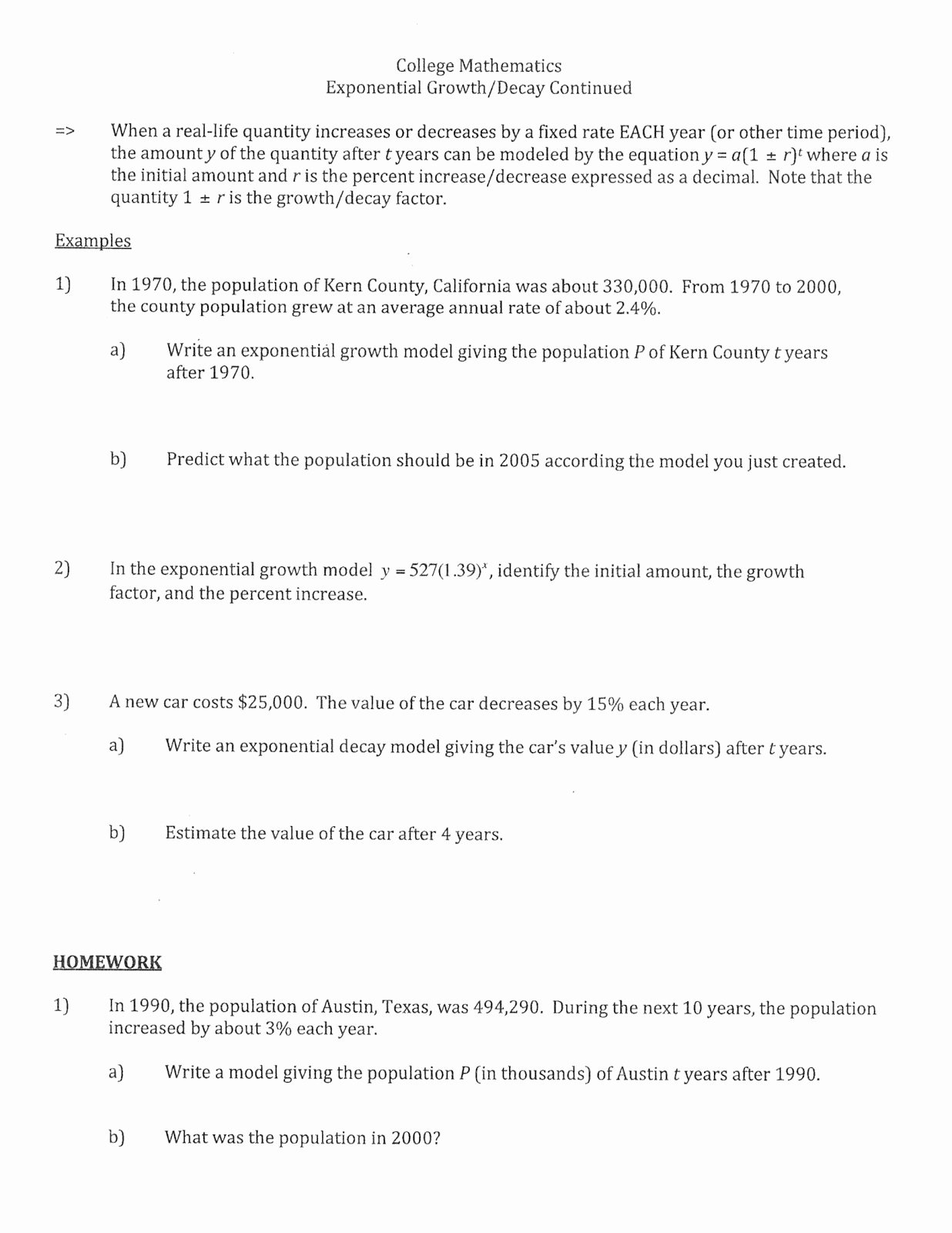 Exponential Function Word Problems Worksheet top Modeling Exponential Growth and Decay Worksheet
