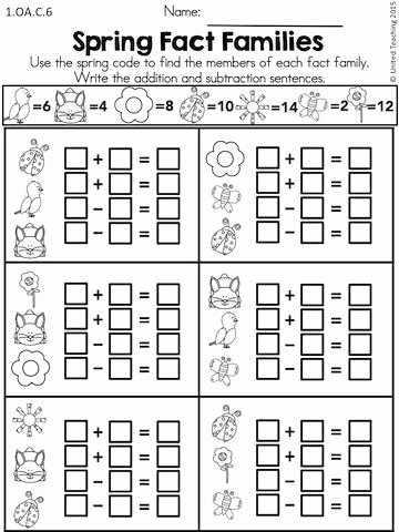 Fact Family Worksheets 1st Grade Free Spring Math Worksheets 1st Grade Distance Learning