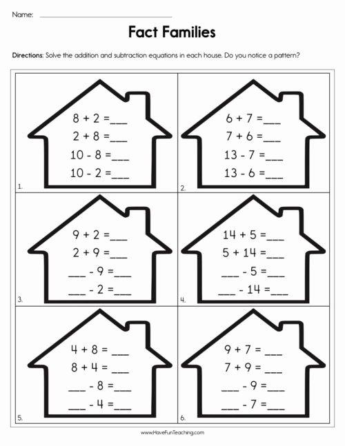Fact Family Worksheets 1st Grade Printable Fact Families Worksheets • Have Fun Teaching