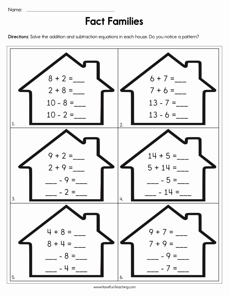 Fact Family Worksheets First Grade Inspirational Pleting Fact Families Worksheet
