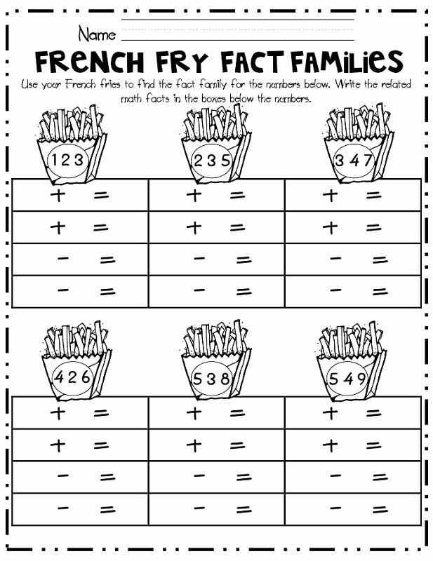 Fact Family Worksheets First Grade Printable Fact Family Worksheets for First Grade