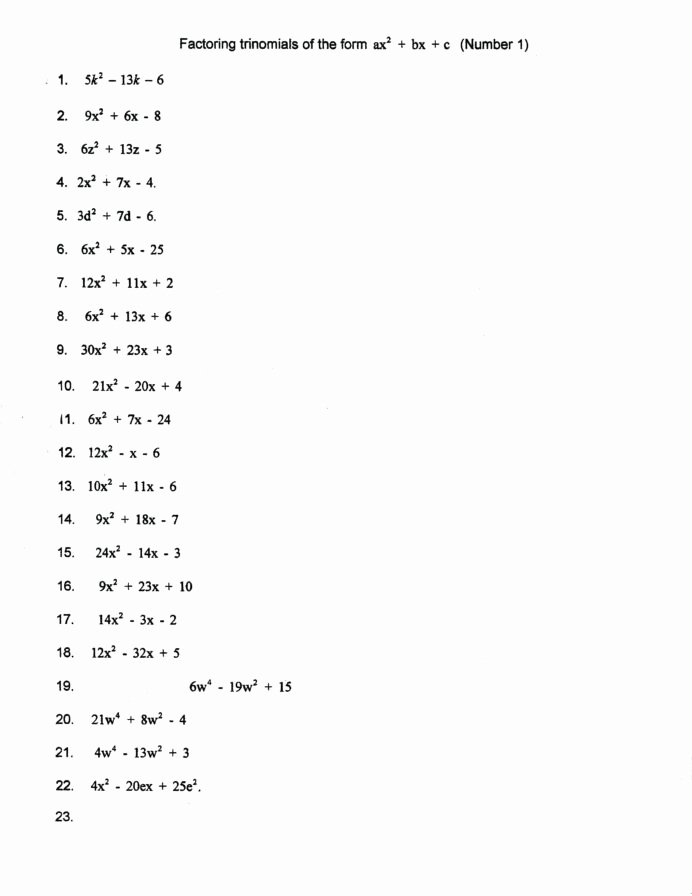 Factoring Ax2 Bx C Worksheet Inspirational Factor Worksheet Printable Worksheets and Activities for