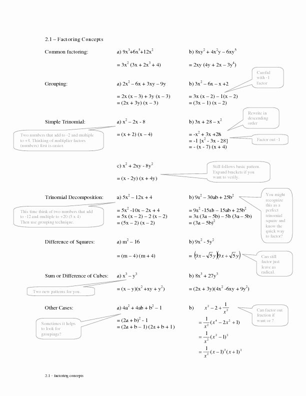 Factoring by Grouping Worksheet Answers Free 33 Factoring Polynomials by Grouping Worksheet with Answers