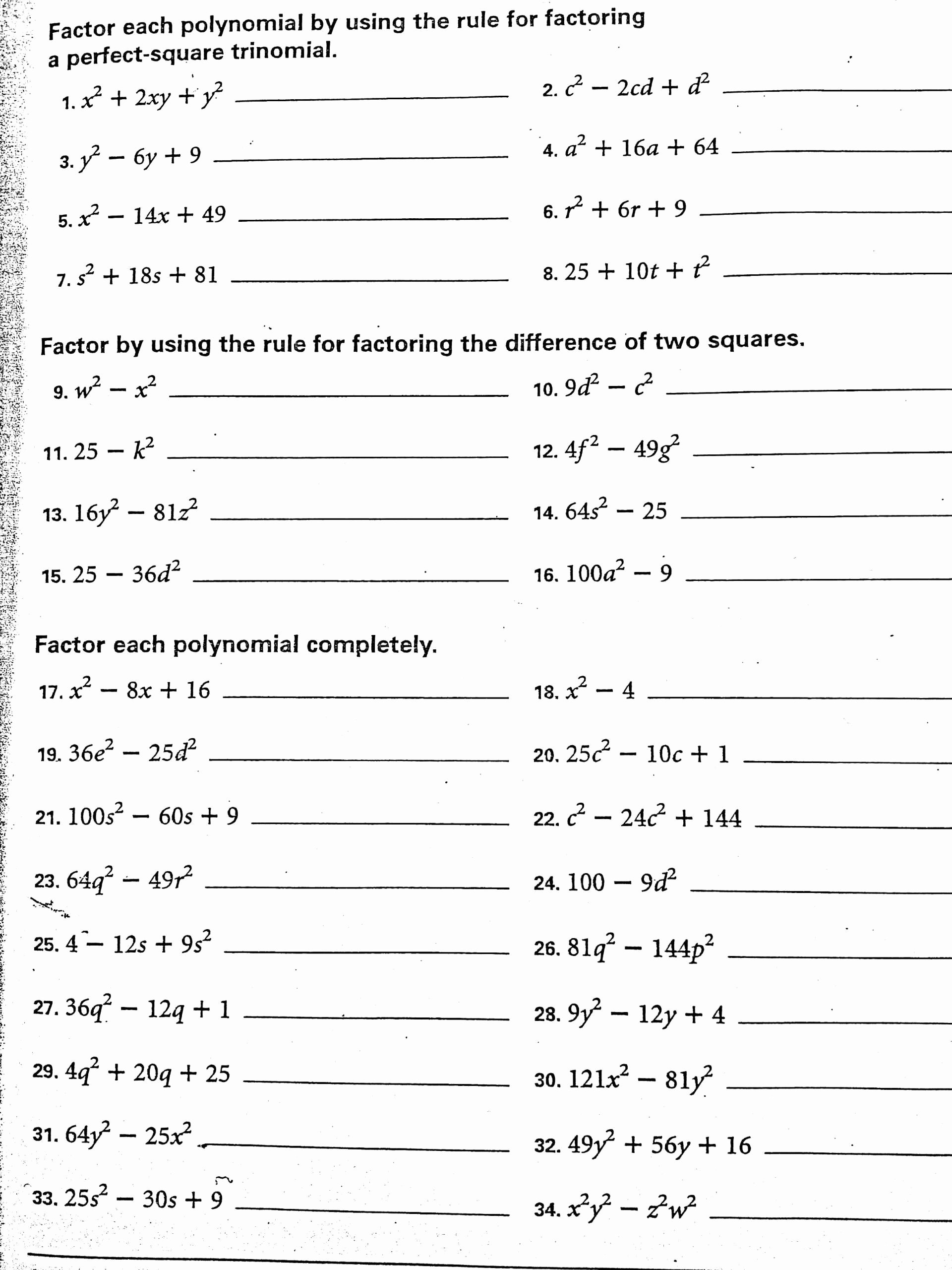 Factoring Difference Of Squares Worksheet Fresh Algebra 1 Factoring Worksheet Difference Two Squares