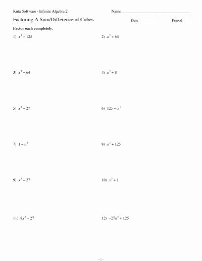 Factoring Difference Of Squares Worksheet Kids Factoring A Sum Difference Of Cubes Kuta software
