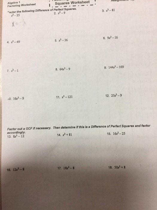 Factoring Difference Of Squares Worksheet Kids solved Algebra 1 Factoring Worksheot I Squares Worksheet