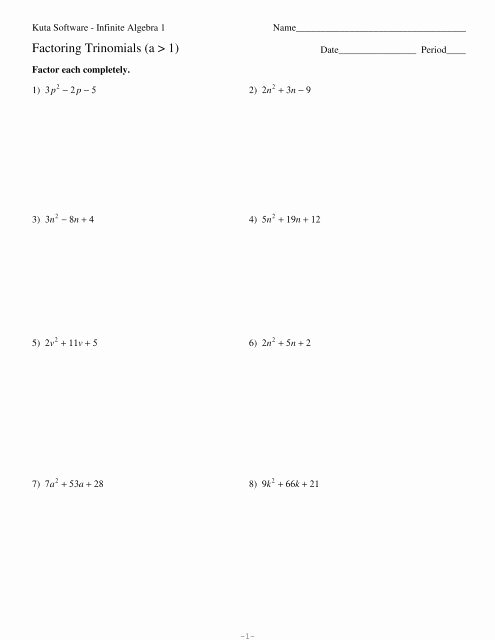 Factoring Trinomials A 1 Worksheet Free Factoring Trinomials A 1 Kuta software