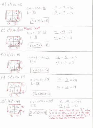 Factoring Trinomials Worksheet Algebra 2 Inspirational Free Factoring Worksheets Algebra 2