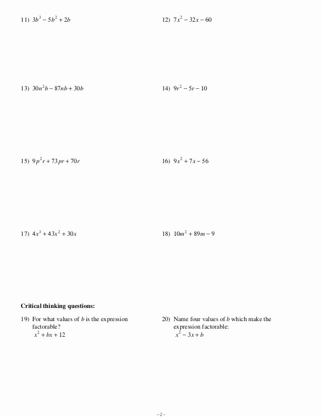 Factoring Trinomials Worksheet Answer Key top Kuta software Factoring Trinomials A 1