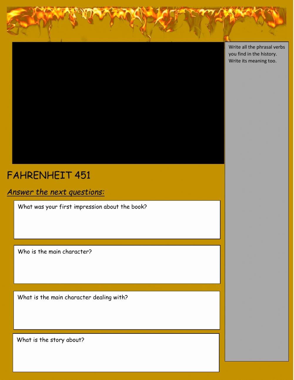 Fahrenheit 451 Literary Devices Worksheet Kids Fahrenheit 451 Interactive Worksheet