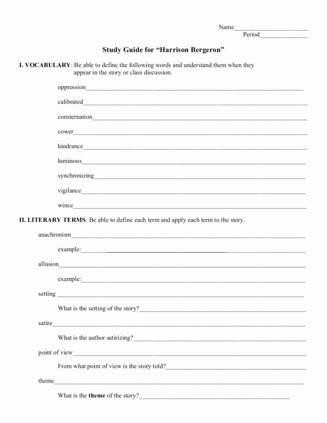 Fahrenheit 451 Literary Devices Worksheet Printable Study Guide Harrison Bergeron 6th 9th Grade Worksheet
