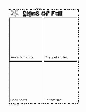 Fall Worksheets for First Grade Fresh Signs Of Fall Worksheets