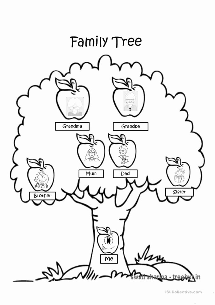 Family Tree Worksheets for Kids Kids Family Tree Coloring English Esl Powerpoints for Distance