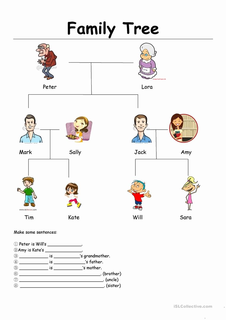 Family Tree Worksheets for Kids Kids Family Tree English Esl Worksheets for Distance Learning