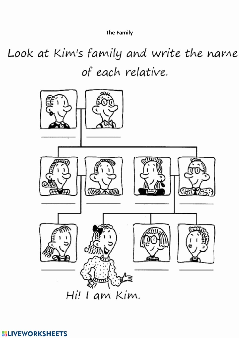 Family Tree Worksheets for Kids top Kids 1 2 Family Members Interactive Worksheet