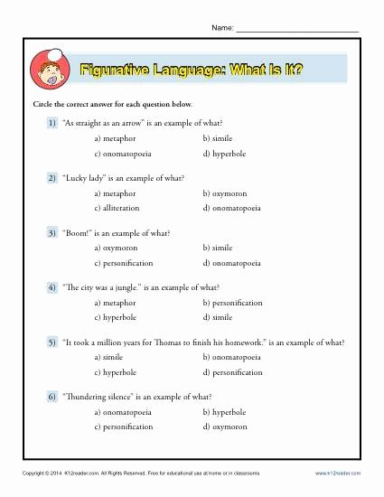 Figurative Language Worksheet High School Lovely Figurative Language What is It