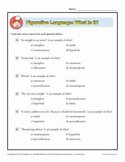 Figurative Language Worksheet High School Lovely Figurative Language What is It