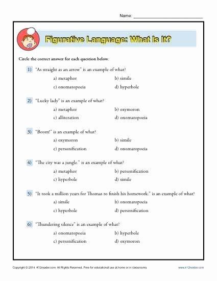Figurative Language Worksheet Middle School Best Of Figurative Language What is It Worksheet