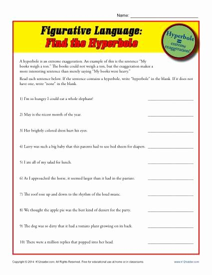 Figurative Language Worksheet Middle School Kids Figurative Language Find the Hyperbole