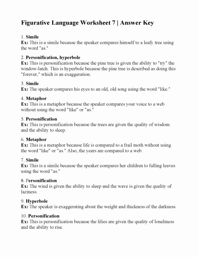 Figurative Language Worksheets 5th Grade New Figurative Language Worksheet Answers Printable Worksheets