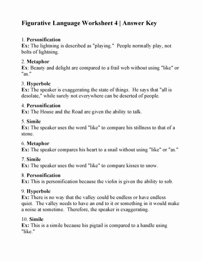 Figurative Language Worksheets 6th Grade Best Of Figurative Language Printable Worksheets Worksheets Math