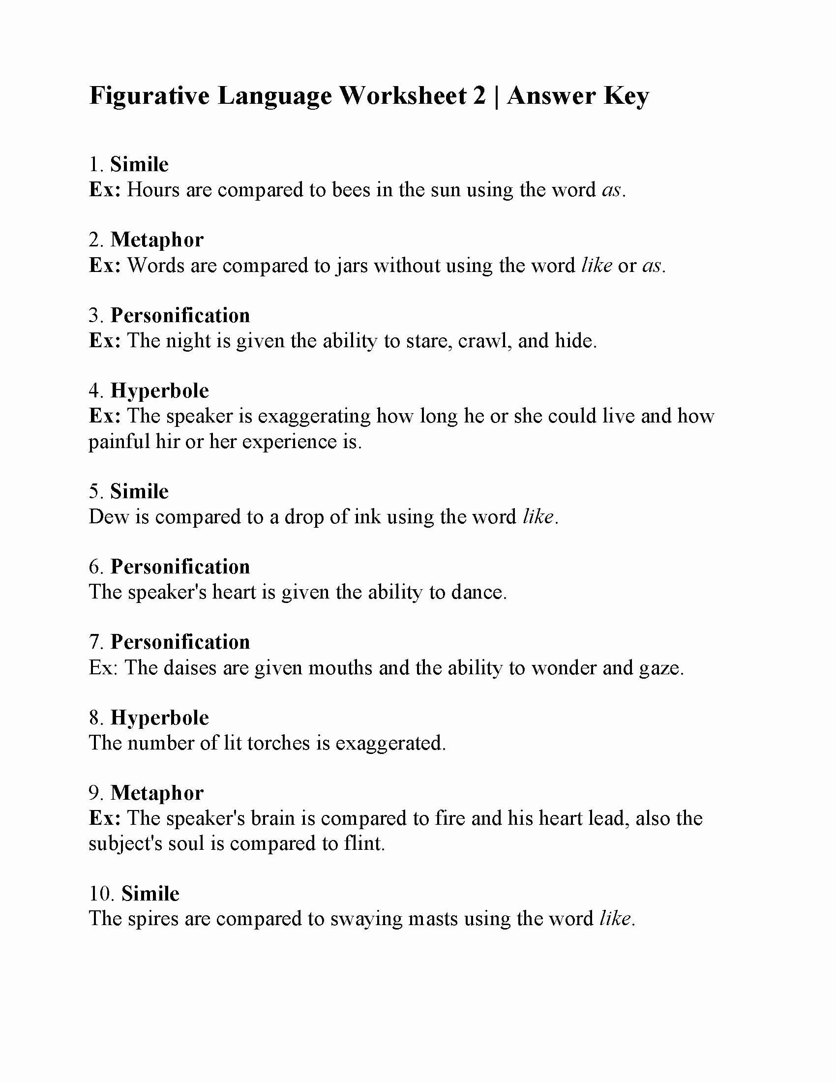 Figurative Language Worksheets 6th Grade Inspirational Figurative Language Worksheets