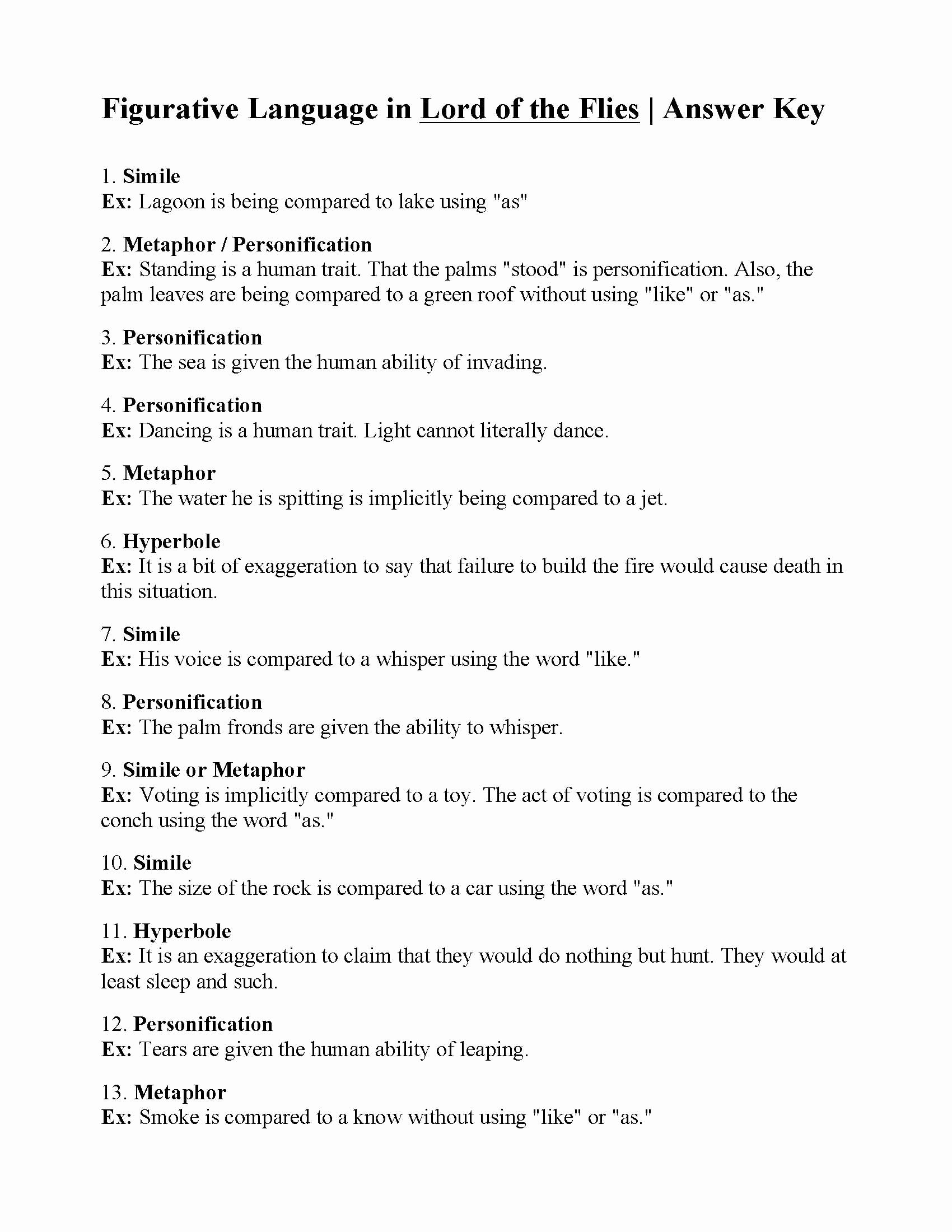 Figurative Language Worksheets High School Fresh Figurative Language Worksheet Lord Of the Flies