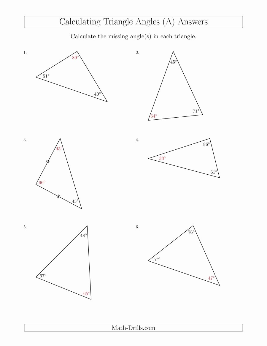 Find the Missing Angle Worksheet Inspirational Calculating Angles Of A Triangle Given the Other Angle S A