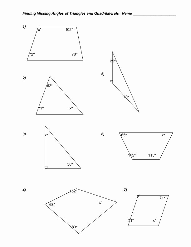 Find the Missing Angle Worksheet Inspirational Finding Missing Angles Of Triangles and Quadrilaterals
