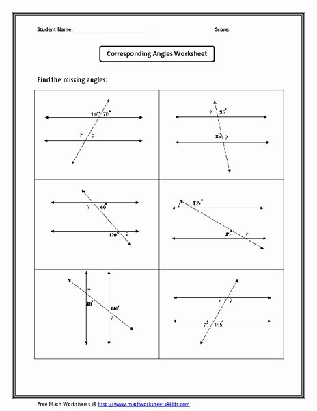 Find the Missing Angle Worksheet Lovely Corresponding Angles Worksheet Worksheet for 10th Grade