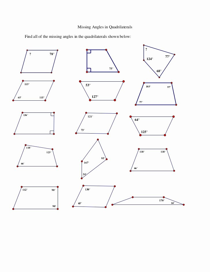 Find the Missing Angle Worksheet top Missing Angles In Quadrilaterals Ws
