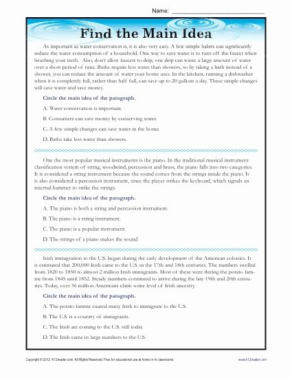 Finding the Main Idea Worksheet Free High School Main Idea Reading Passage Worksheet
