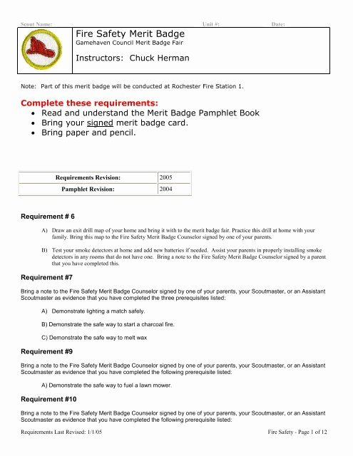 Fire Safety Merit Badge Worksheet New Fire Safety Merit Badge Gamehaven Council
