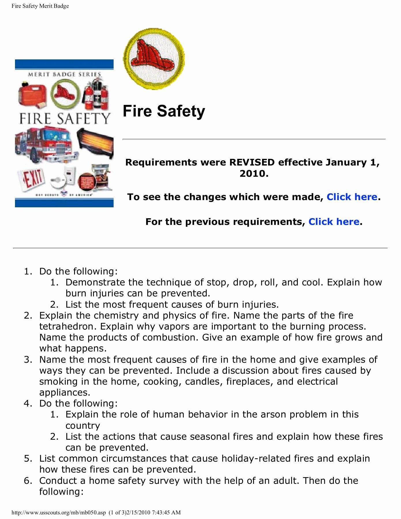Fire Safety Merit Badge Worksheet top Fire Safety Merit Badge Pamphlet Pdf Download