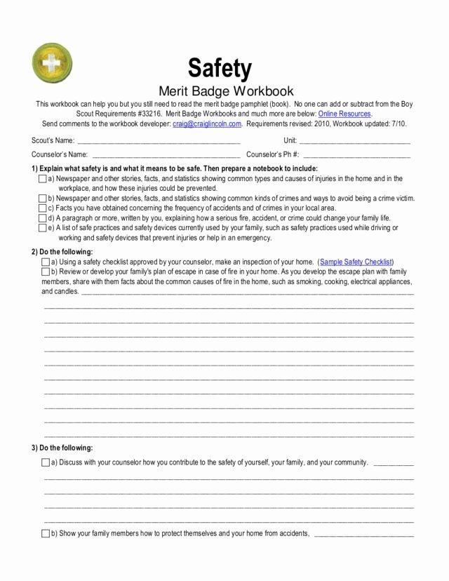 Fire Safety Merit Badge Worksheet top Safety Merit Badge Worksheet for 5th 12th Grade Lesson
