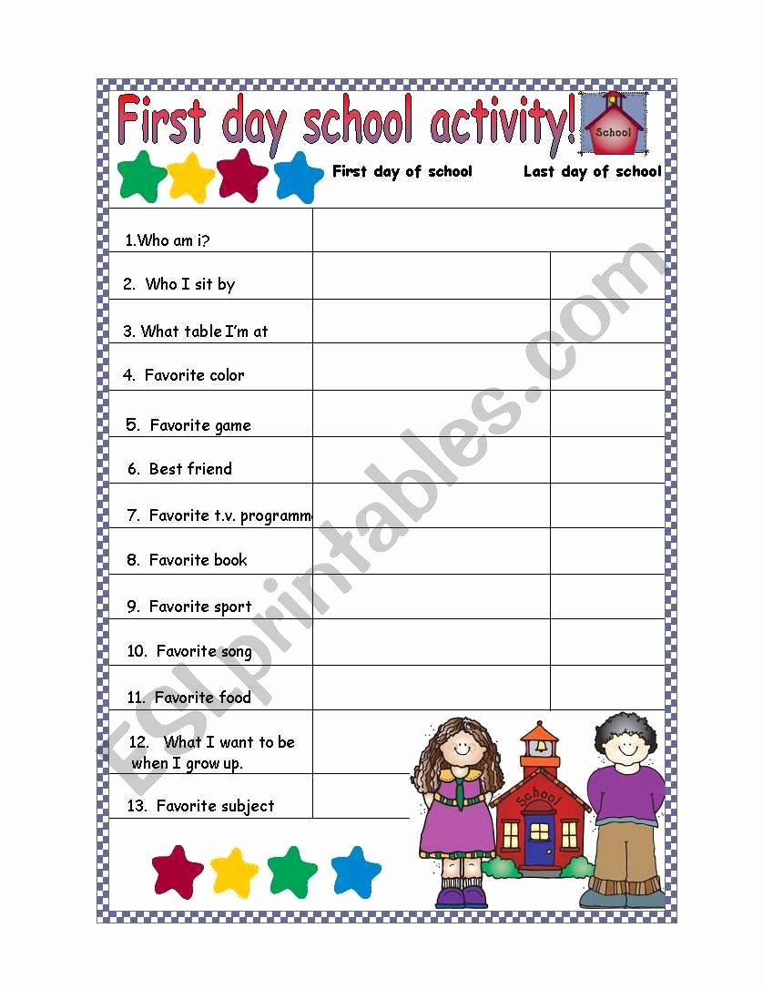 First Day Of Kindergarten Worksheets Ideas Activity for the First Day Of School Esl Worksheet by