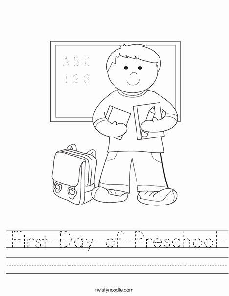First Day Of Kindergarten Worksheets Kids First Day Of Preschool Worksheet Twisty Noodle