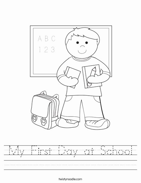 First Day Of Kindergarten Worksheets Kids My First Day at School Worksheet Twisty Noodle
