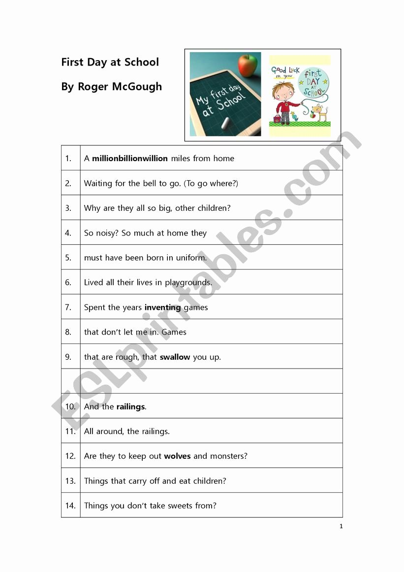 First Day Of School Worksheet Printable Poem Worksheet First Day at School by Roger Mcgough Esl