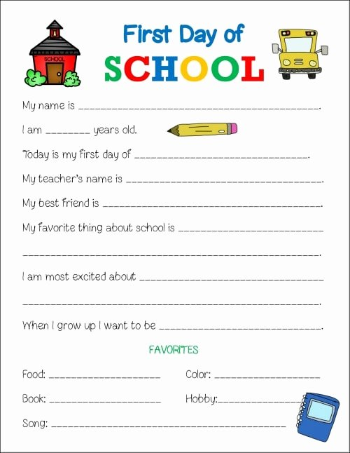 First Day Of School Worksheets Lovely First Day Of School Printable Worksheet Life is Sweeter by