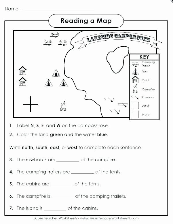 First Grade Map Skills Worksheets Kids Free Map Skills Worksheets Christmas Reading Prehension