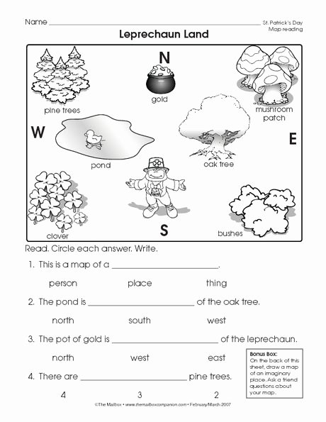 First Grade Map Skills Worksheets Kids St Patrick S Day Worksheet Reading A Map the Mailbox