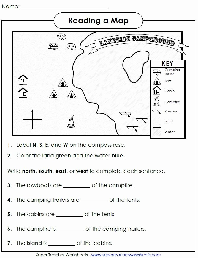 First Grade Map Skills Worksheets top Reading A Map Cardinal Directions