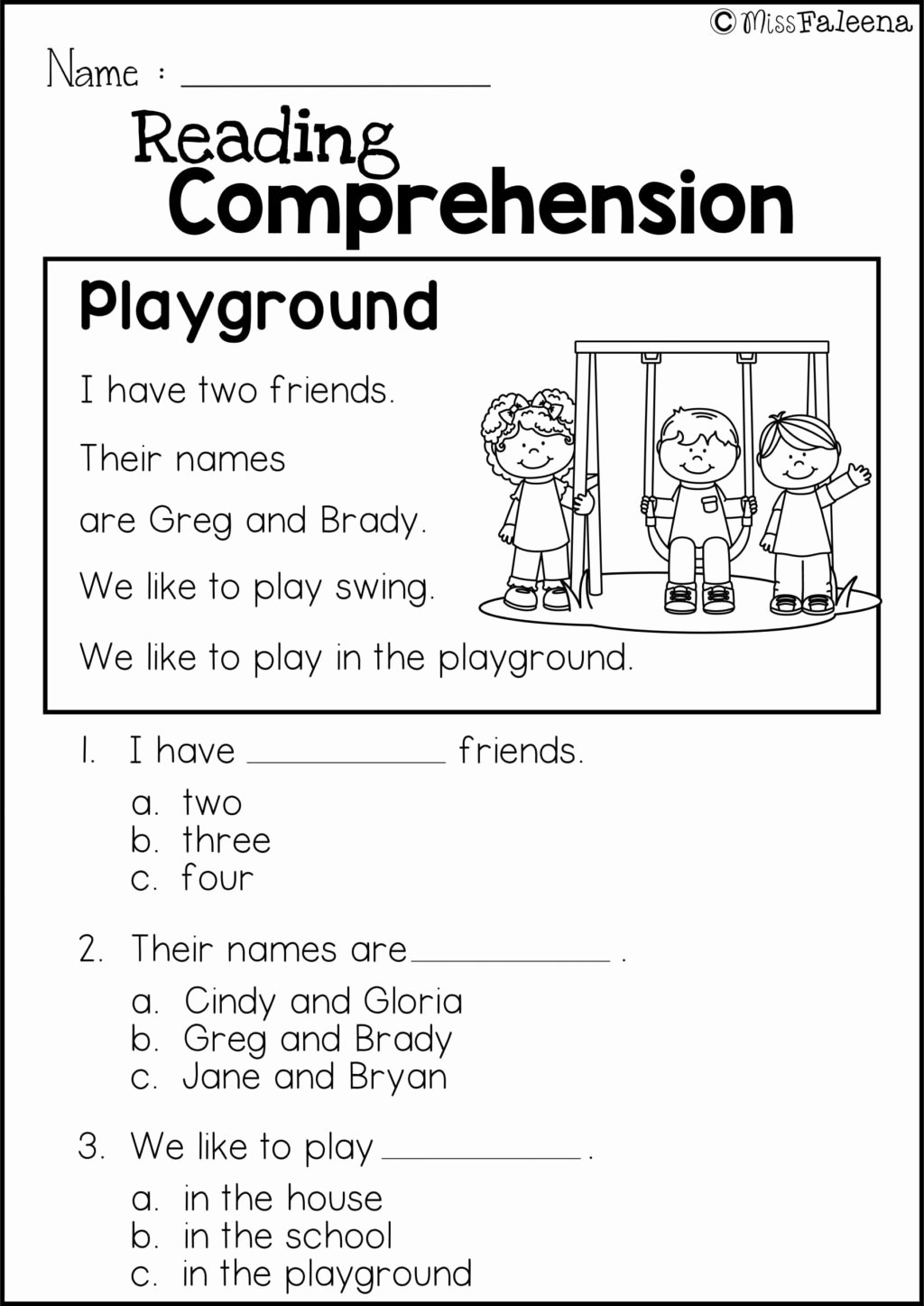 First Grade Reading Comprehension Worksheets Kids Worksheet Worksheet Ideas 1st Grade Reading Prehension