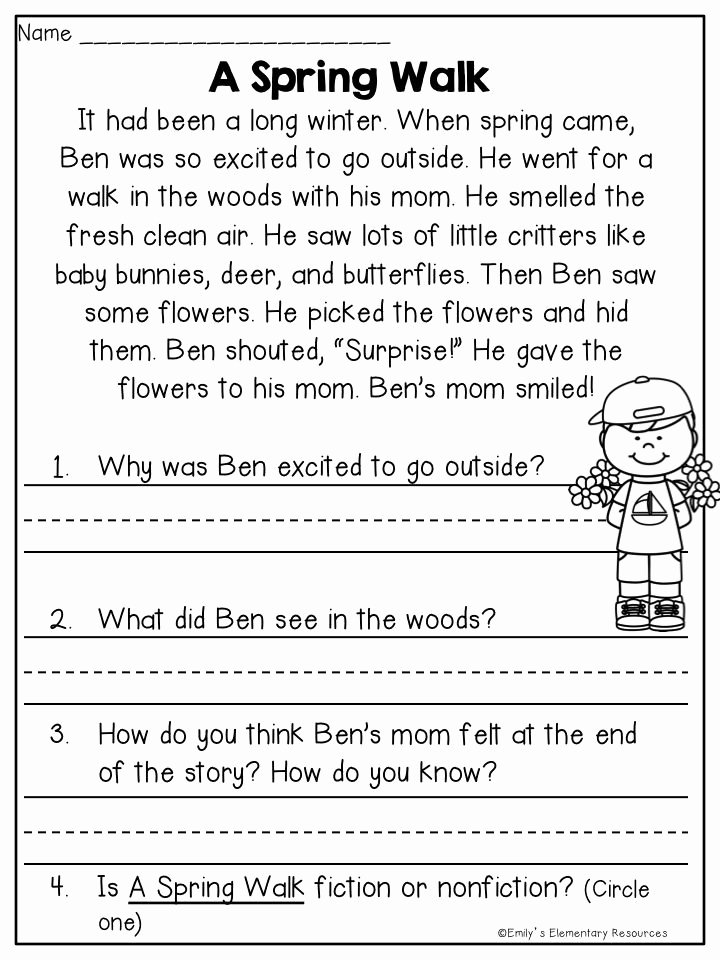 First Grade Reading Comprehension Worksheets New Spring Fling Writing & Literacy Activities